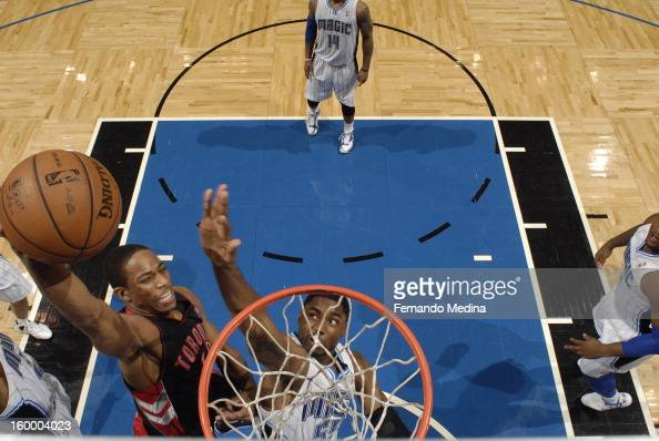 DeMar DeRozan of the Toronto Raptors goes up for the slamdunk against the Orlando Magic during the game on January 24 2013 at Amway Center in Orlando...