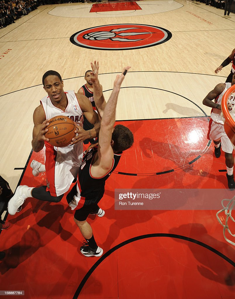 DeMar DeRozan #10 of the Toronto Raptors goes up strong to the basket against the Portland Trail Blazers during the game on January 2, 2013 at the Air Canada Centre in Toronto, Ontario, Canada.