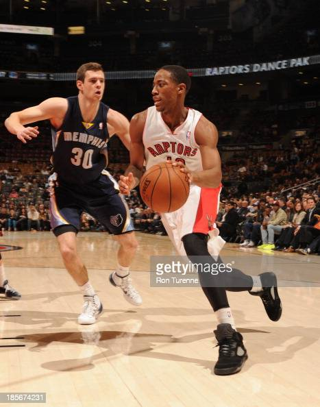 DeMar DeRozan of the Toronto Raptors handles the ball against Jon Leuer of the Memphis Grizzlies during the game on October 23 2013 at the Air Canada...