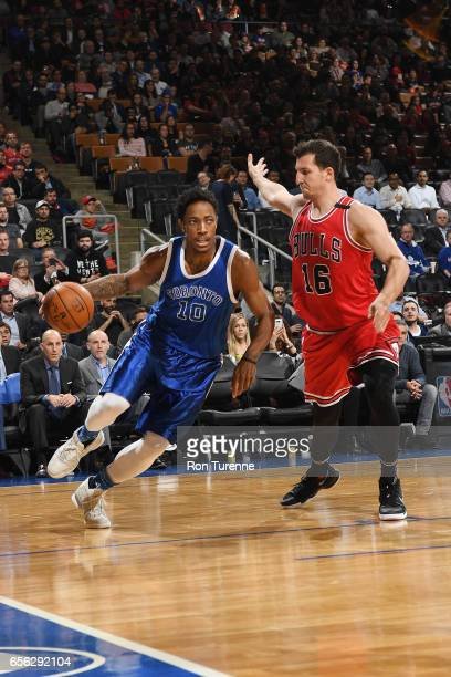 DeMar DeRozan of the Toronto Raptors handles the ball against Paul Zipser of the Chicago Bulls during the game on March 21 2017 at the Air Canada...