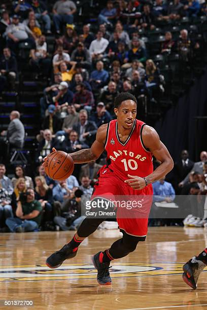 DeMar DeRozan of the Toronto Raptors handles the ball against the Indiana Pacers on December 14 2015 at Bankers Life Fieldhouse in Indianapolis...