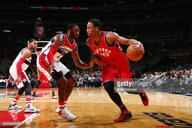 DeMar DeRozan of the Toronto Raptors handles the ball against the Washington Wizards on January 8 2016 at Verizon Center in Washington DC NOTE TO...