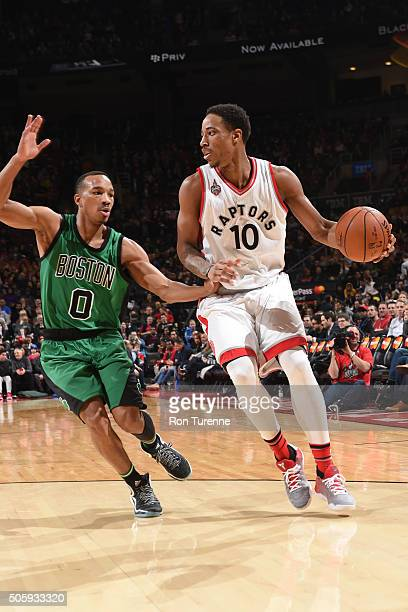 DeMar DeRozan of the Toronto Raptors handles the ball against the Boston Celtics on January 20 2016 at the Air Canada Centre in Toronto Ontario...