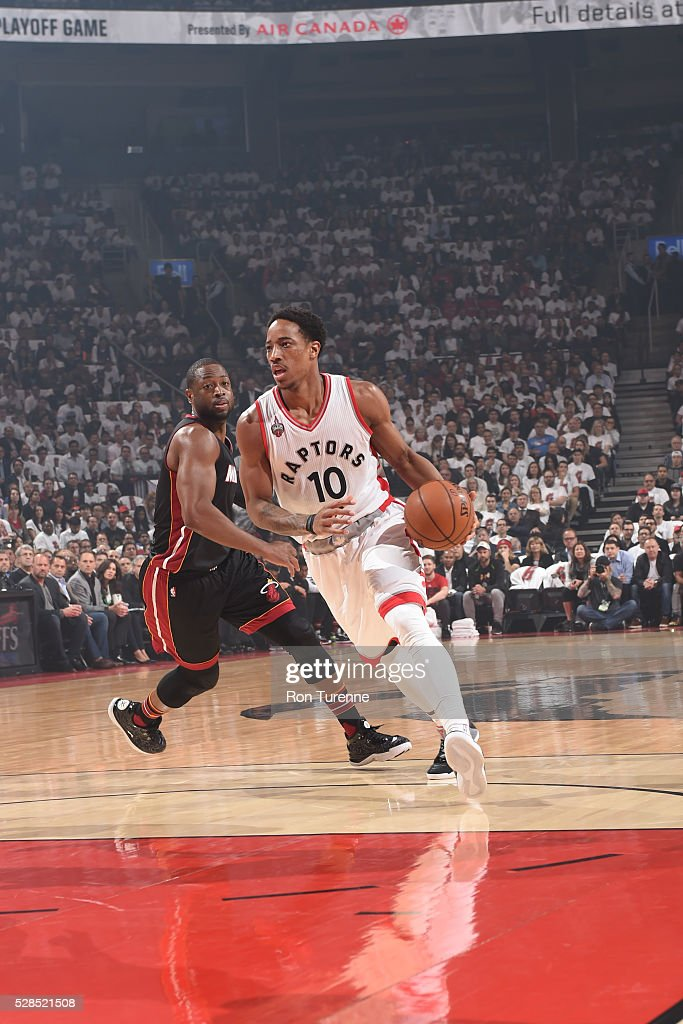 DeMar DeRozan #10 of the Toronto Raptors handles the ball against the Miami Heat in Game Two of the Eastern Conference Semifinals on May 5, 2016 at the Air Canada Centre in Toronto, Ontario, Canada.