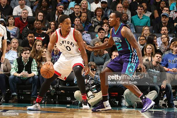DeMar DeRozan of the Toronto Raptors handles the ball against the Charlotte Hornets on November 11 2016 at Time Warner Cable Arena in Charlotte North...