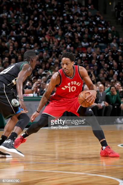 DeMar DeRozan of the Toronto Raptors handles the ball against the Milwaukee Bucks during Game Three of the Eastern Conference Quarterfinals of the...