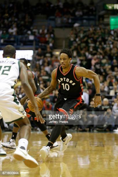 DeMar DeRozan of the Toronto Raptors handles the ball against the Milwaukee Bucks during Game Four of the Eastern Conference Quarterfinals of the...