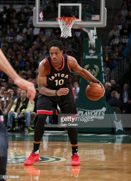 DeMar DeRozan of the Toronto Raptors handles the ball against the Milwaukee Bucks during Game Six of the Eastern Conference Quarterfinals of the 2017...