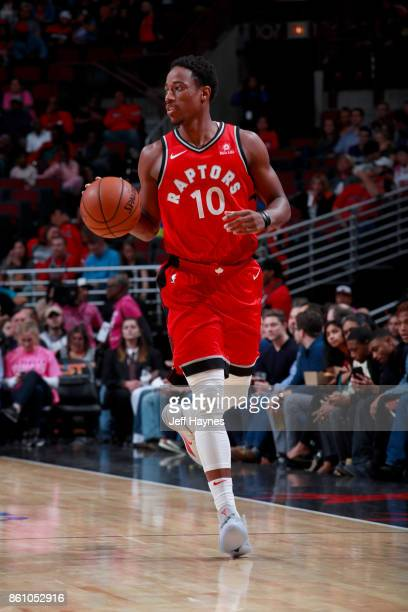DeMar DeRozan of the Toronto Raptors handles the ball against the Chicago Bulls on October 13 2017 at the United Center in Chicago Illinois NOTE TO...