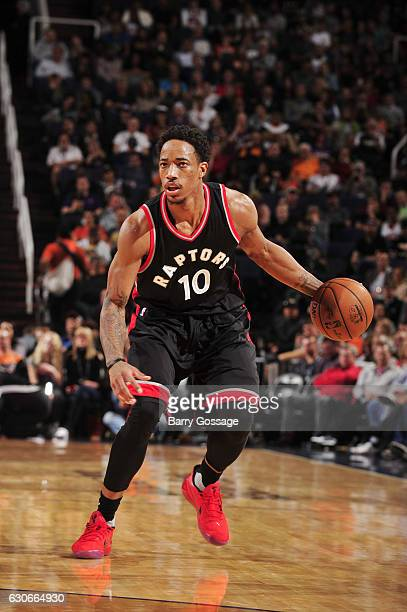 DeMar DeRozan of the Toronto Raptors handles the ball during a game against the Phoenix Suns on December 29 2016 at Talking Stick Resort Arena in...