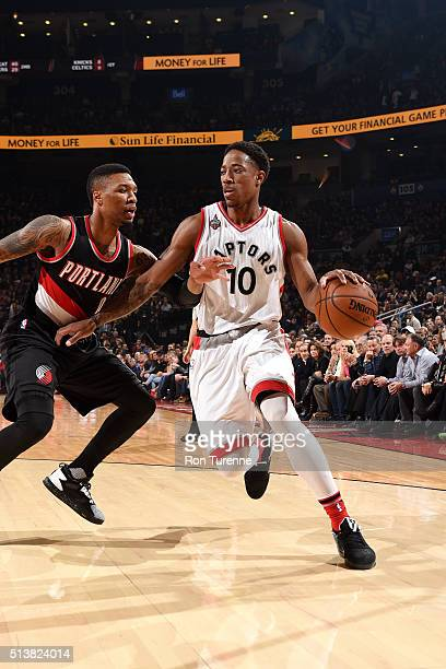 DeMar DeRozan of the Toronto Raptors handles the ball during the game against the Portland Trail Blazers on March 4 2016 at the Air Canada Centre in...