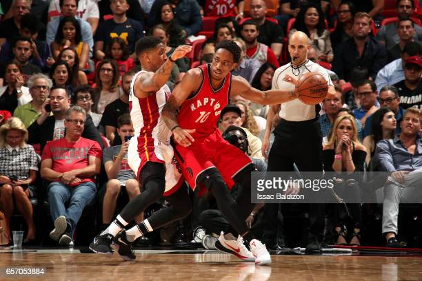 DeMar DeRozan of the Toronto Raptors handles the ball during the game against the Miami Heat on March 23 2017 at AmericanAirlines Arena in Miami...