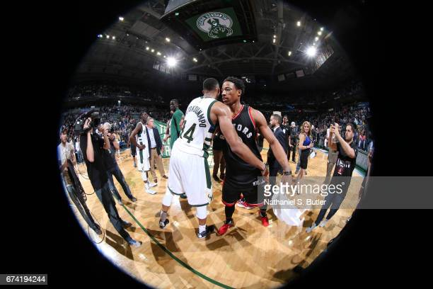 DeMar DeRozan of the Toronto Raptors hugs Giannis Antetokounmpo of the Milwaukee Bucks after Game Six of the Eastern Conference Quarterfinals of the...