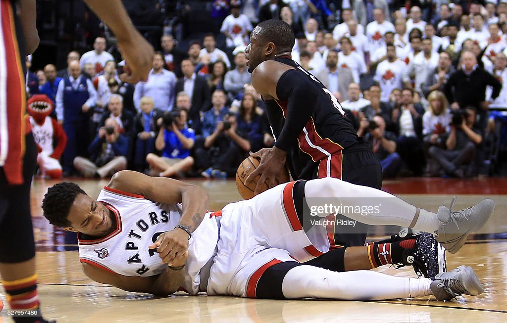 DeMar DeRozan #10 of the Toronto Raptors injures his hand late in the second half of Game One of the Eastern Conference Semifinals against the Miami Heat during the 2016 NBA Playoffs at the Air Canada Centre on May 3, 2016 in Toronto, Ontario, Canada.