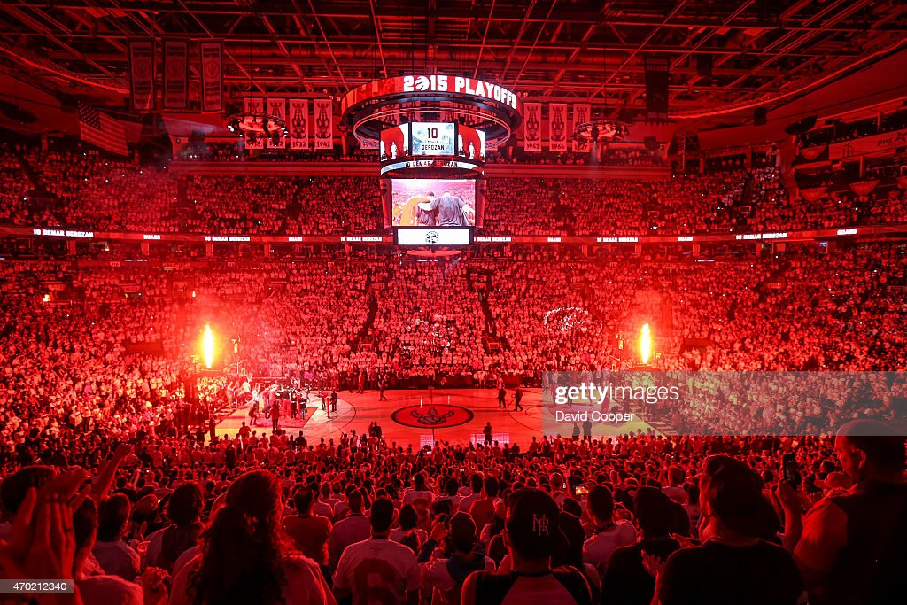 TORONTO, ON- APRIL 18 - DeMar DeRozan (10) of the Toronto Raptors is introduced before the game between the Toronto Raptors and the Washington Wizards at the Air Canada Centre April 18, 2015