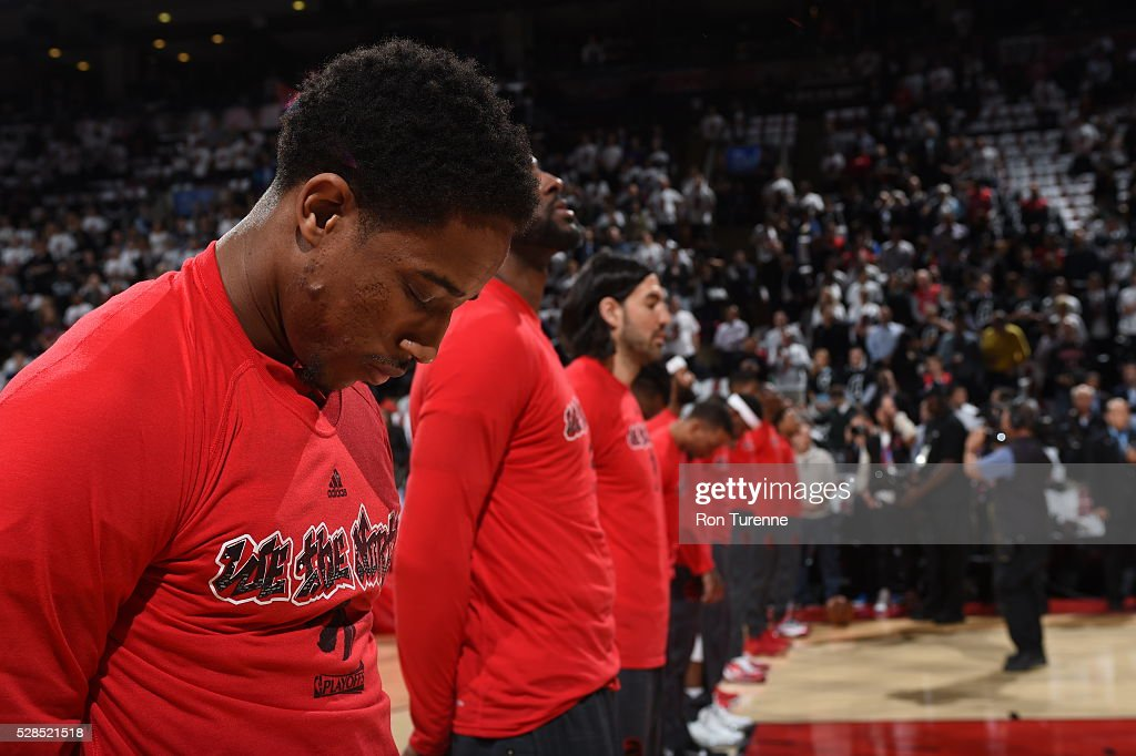DeMar DeRozan #10 of the Toronto Raptors is seen before the game against the Miami Heat in Game Two of the Eastern Conference Semifinals on May 5, 2016 at the Air Canada Centre in Toronto, Ontario, Canada.
