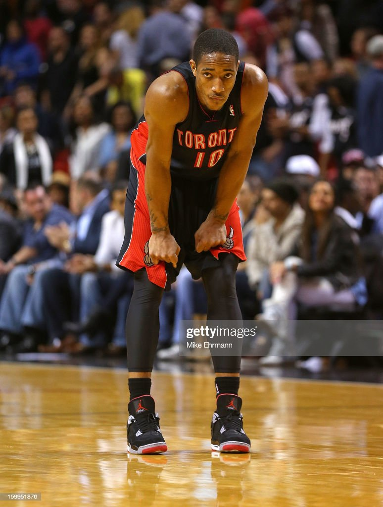 DeMar DeRozan #10 of the Toronto Raptors looks on during a game against the Miami Heatat American Airlines Arena on January 23, 2013 in Miami, Florida.
