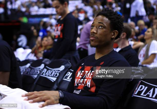 DeMar DeRozan of the Toronto Raptors looks on during player introductions prior to the first half of Game Four of the Eastern Conference Semifinals...