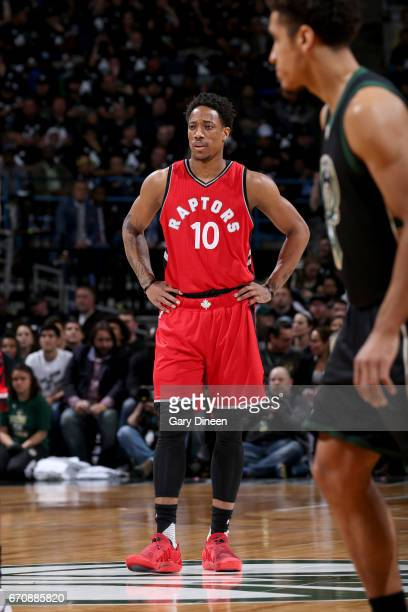 DeMar DeRozan of the Toronto Raptors looks on during the game against the Milwaukee Bucks during Game Three of the Eastern Conference Quarterfinals...