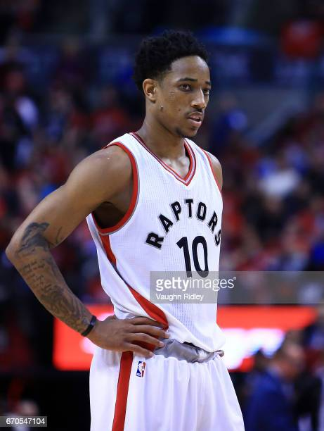 DeMar DeRozan of the Toronto Raptors looks on in the second half of Game Two of the Eastern Conference Quarterfinals against the Milwaukee Bucks...