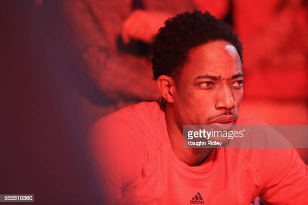 DeMar DeRozan of the Toronto Raptors looks on prior to game three of the Eastern Conference Finals against the Cleveland Cavaliers during the 2016...