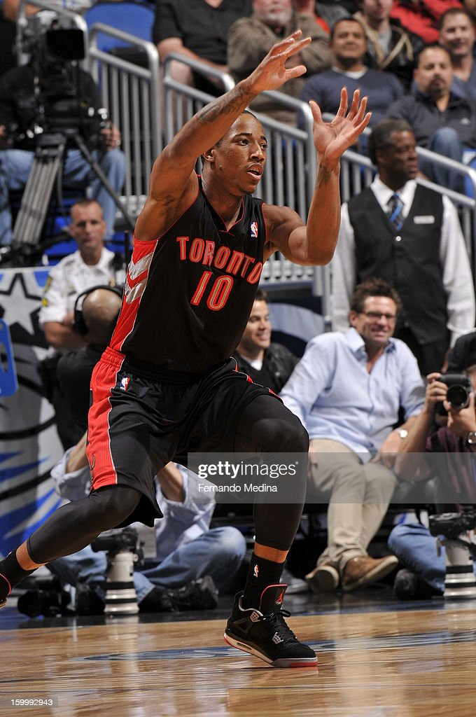 DeMar DeRozan #10 of the Toronto Raptors looks to get a pass against the Orlando Magic during the game on January 24, 2013 at Amway Center in Orlando, Florida.