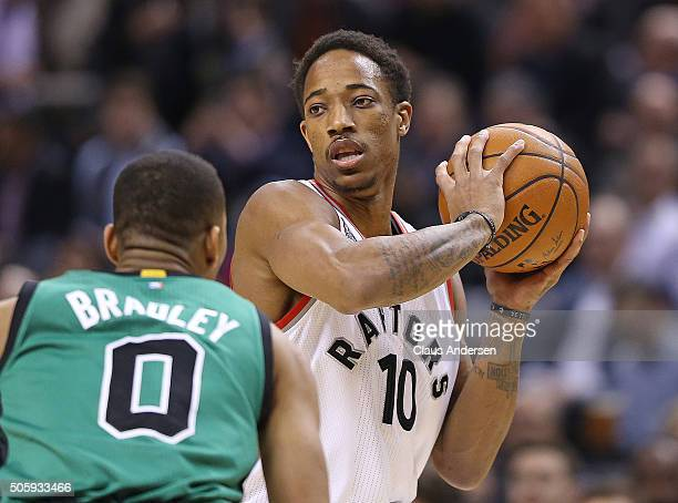 DeMar DeRozan of the Toronto Raptors looks to make a play against the Boston Celtics during an NBA game at the Air Canada Centre on January 20 2016...