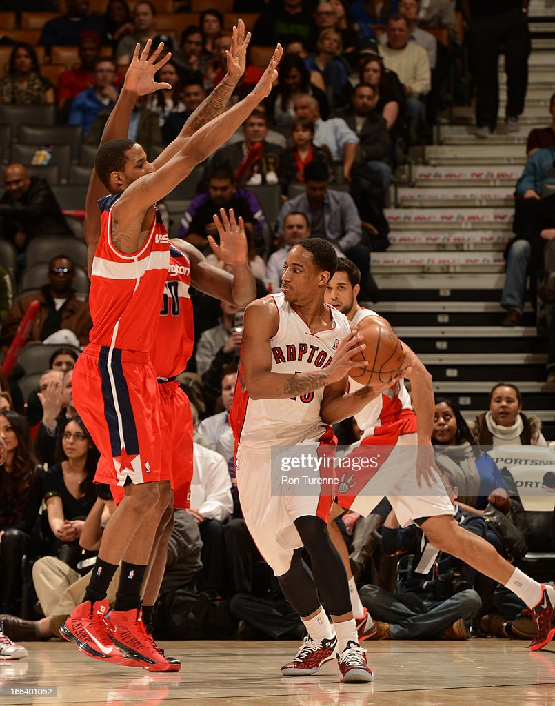 DeMar DeRozan #10 of the Toronto Raptors looks to pass the ball against the Washington Wizards during the game on April 3, 2013 at the Air Canada Centre in Toronto, Ontario, Canada.