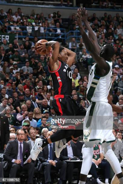 DeMar DeRozan of the Toronto Raptors looks to pass the ball during the game against the Milwaukee Bucks in Game Four during the Eastern Conference...