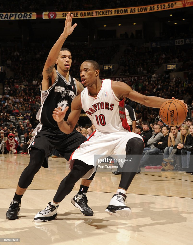 DeMar DeRozan #10 of the Toronto Raptors looks to pass the ball vs the San Antonio Spurs during the game on November 25, 2012 at the Air Canada Centre in Toronto, Ontario, Canada.