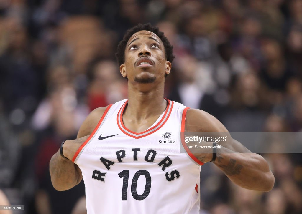 DeMar DeRozan #10 of the Toronto Raptors looks up against the Detroit Pistons at Air Canada Centre on January 17, 2018 in Toronto, Canada.