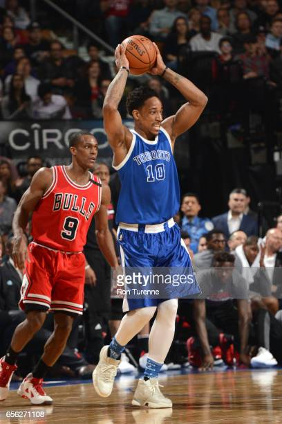 DeMar DeRozan of the Toronto Raptors passes the ball against the Chicago Bulls during the game on March 21 2017 at the Air Canada Centre in Toronto...