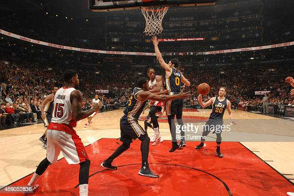 DeMar DeRozan of the Toronto Raptors passes the ball against the Utah Jazz during the game on November 15 2014 at the Air Canada Centre in Toronto...