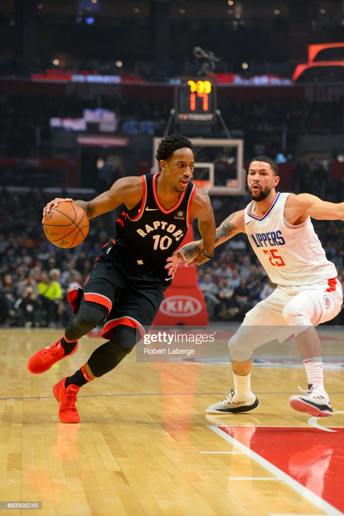 DeMar DeRozan #10 of the Toronto Raptors plays against Austin Rivers #25 of the Los Angeles Clippers on December 11, 2017 at STAPLES Center in Los Angeles, California.