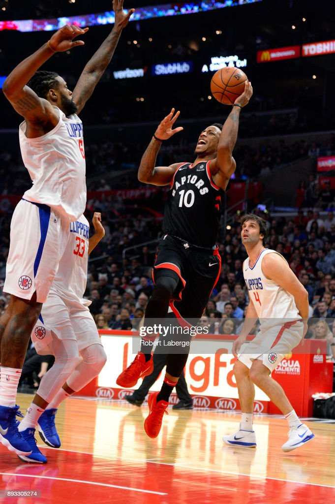 DeMar DeRozan #10 of the Toronto Raptors plays against DeAndre Jordan #6 of the Los Angeles Clippers on December 11, 2017 at STAPLES Center in Los Angeles, California.