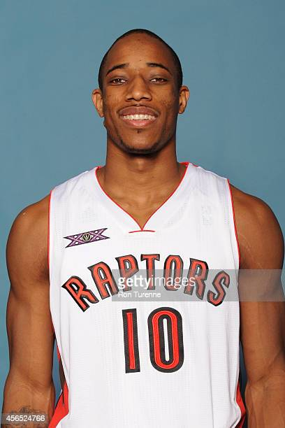 DeMar DeRozan of the Toronto Raptors poses for a photo during 2014 Raptors Media Day at the Air Canada Centre in Toronto Ontario Canada NOTE TO USER...