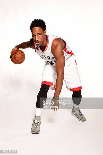 DeMar DeRozan of the Toronto Raptors poses for a photo during media day on September 28 at the Air Canada Centre in Toronto Ontario Canada NOTE TO...