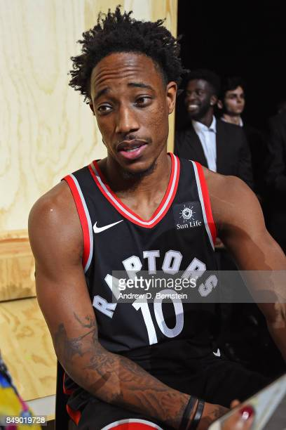 DeMar DeRozan of the Toronto Raptors poses for a photo to help unveil the new uniforms during the Nike Innovation Summit in Los Angeles California on...