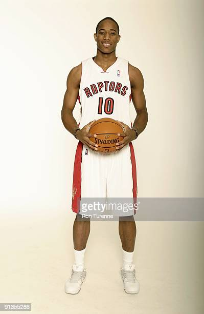 DeMar DeRozan of the Toronto Raptors poses for a portrait during 2009 NBA Media Day on September 28 2009 at Air Canada Centre in Toronto Canada NOTE...