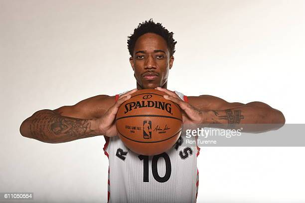 DeMar DeRozan of the Toronto Raptors poses for a portrait during 2016 Media Day on September 28 2016 at the BioSteel Centre in Toronto Ontario Canada...