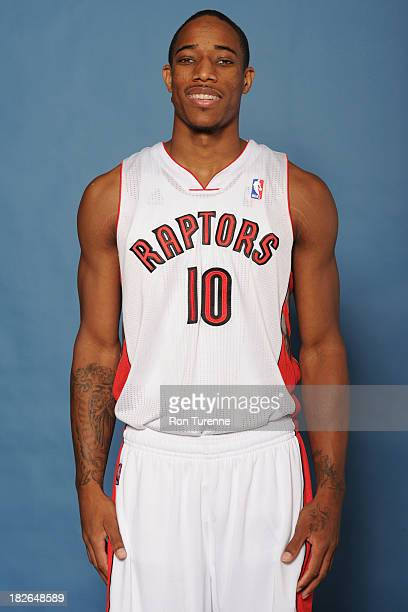 DeMar DeRozan of the Toronto Raptors poses for a portrait during a Media Day on September 30 2013 in Toronto Canada NOTE TO USER User expressly...