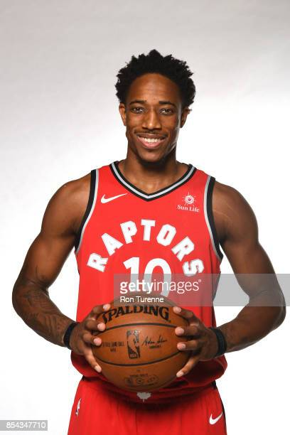 DeMar DeRozan of the Toronto Raptors poses for a portrait during Media Day on September 25 2017 at the BioSteel Centre in Toronto Ontario Canada NOTE...