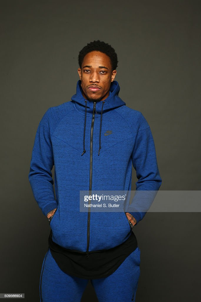 DeMar DeRozan of the Toronto Raptors poses for portraits during the NBAE Circuit as part of 2016 All-Star Weekend at the Sheraton Centre Hotel on February 11, 2016 in Toronto, Ontario, Canada.