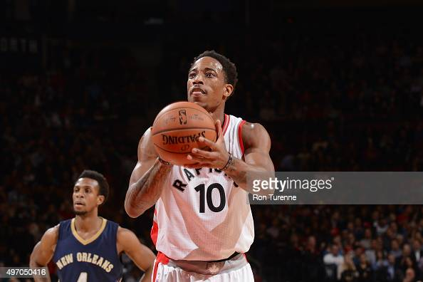 DeMar DeRozan of the Toronto Raptors prepares to shoot a free throw against the New Orleans Pelicans on November 13 2015 at the Air Canada Centre in...