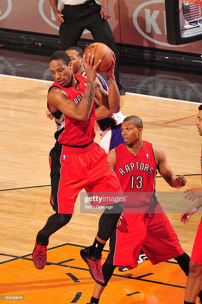Demar DeRozan #10 of the Toronto Raptors pulls down a rebound against the Phoenix Suns on March 6, 2013 at U.S. Airways Center in Phoenix, Arizona.