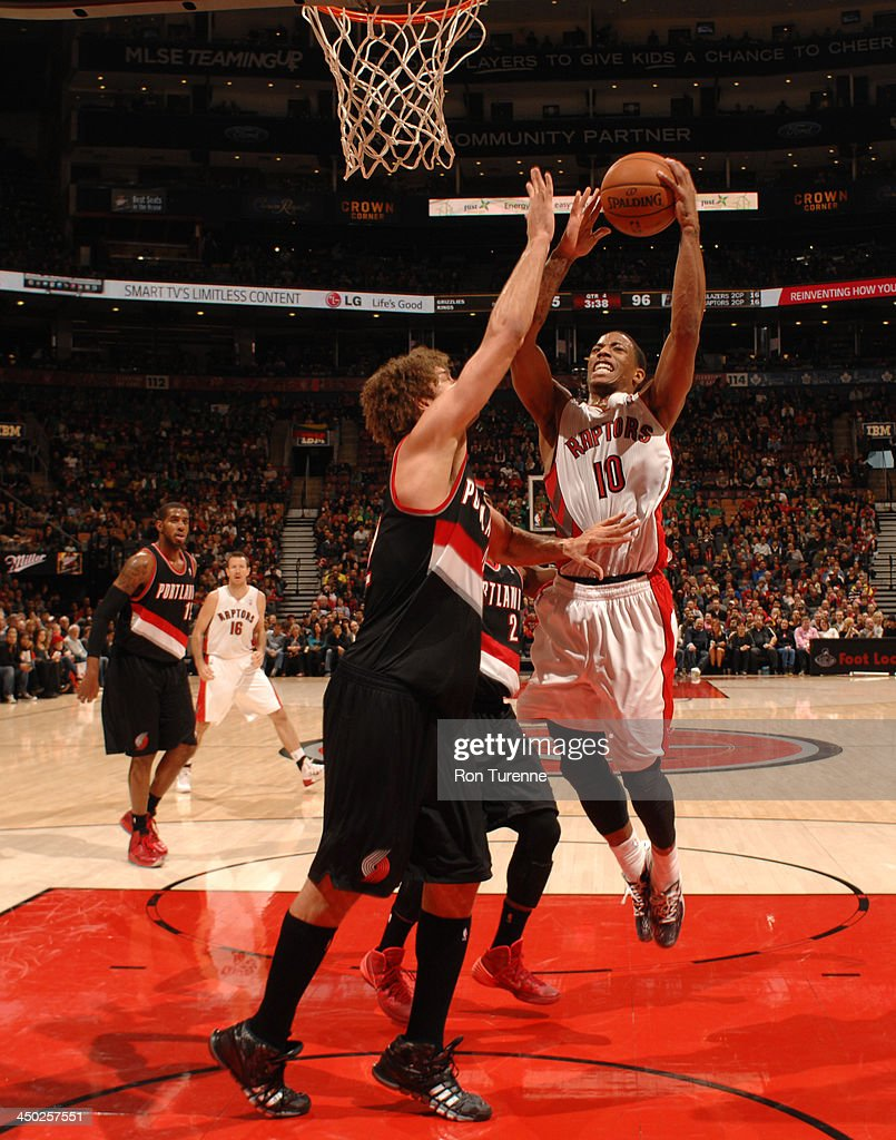 DeMar DeRozan #10 of the Toronto Raptors puts up the shot against the Portland Trail Blazers during the game on November 17, 2013 at the Air Canada Centre in Toronto, Ontario, Canada.