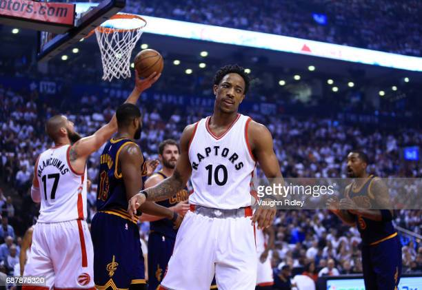 DeMar DeRozan of the Toronto Raptors reacts after being fouled in the first half of Game Three of the Eastern Conference Semifinals against the...