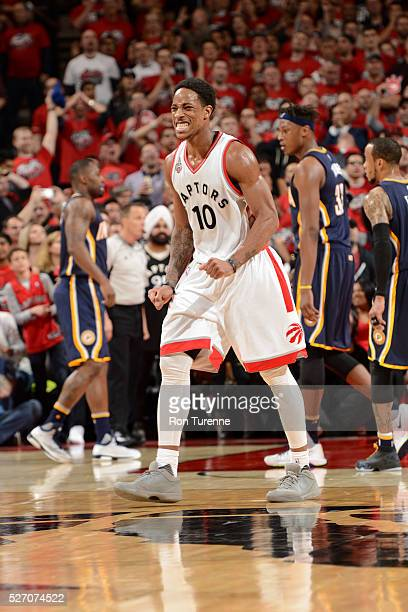 DeMar DeRozan of the Toronto Raptors reacts against the Indiana Pacers in Game Seven of the Eastern Conference Quarterfinals during the 2016 NBA...