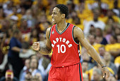 DeMar DeRozan of the Toronto Raptors reacts during the first half against the Cleveland Cavaliers in game two of the Eastern Conference Finals during...