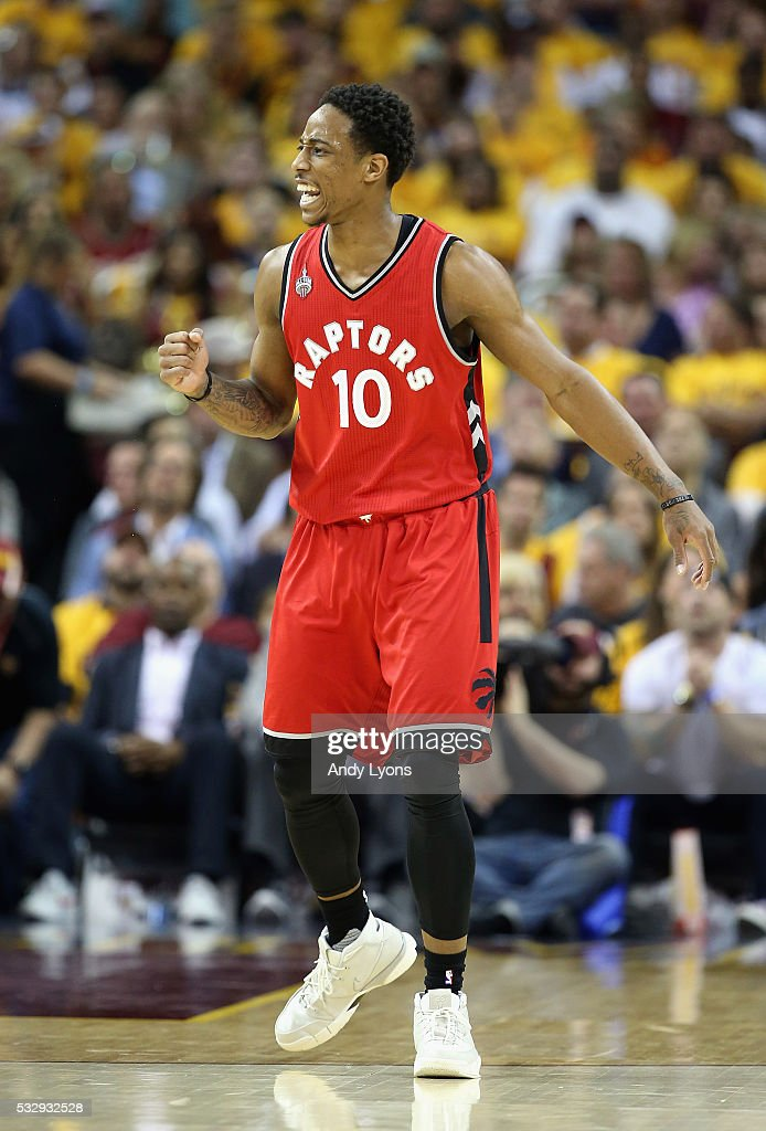 DeMar DeRozan #10 of the Toronto Raptors reacts during the first half against the Cleveland Cavaliers in game two of the Eastern Conference Finals during the 2016 NBA Playoffs at Quicken Loans Arena on May 19, 2016 in Cleveland, Ohio.
